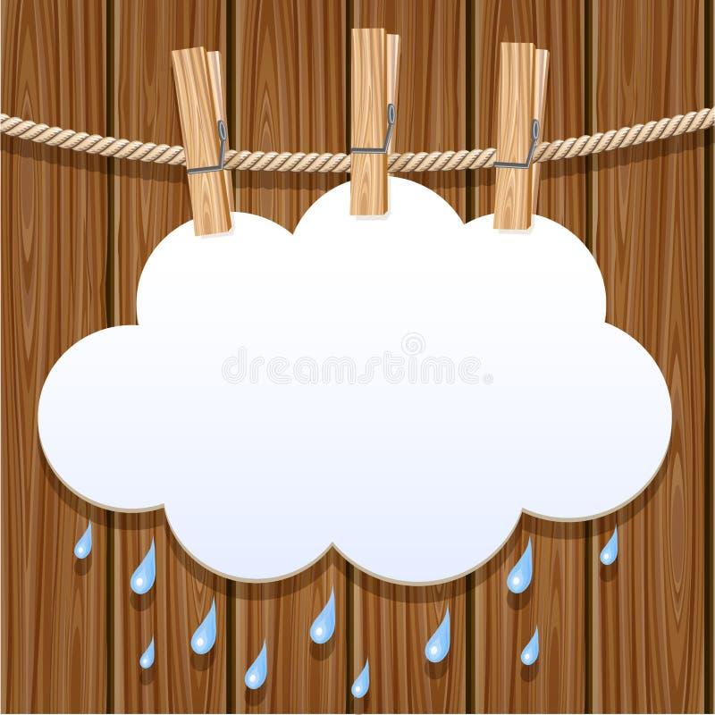 Nuvola del Libro Bianco su un clothesline illustrazione di stock