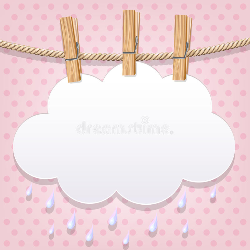 Nuvola del Libro Bianco su una corda da bucato illustrazione di stock