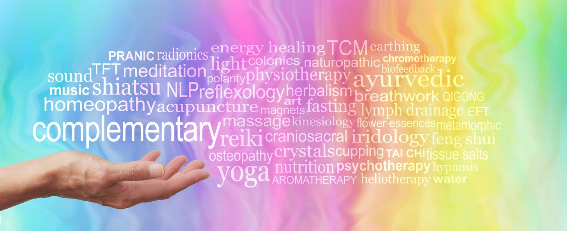 Nuvola dell'etichetta di parola di terapia complementare immagine stock