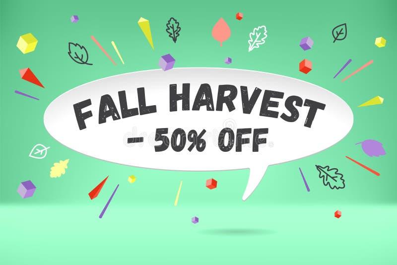 Nuvola della bolla del Libro Bianco con il raccolto -50 di caduta del testo fuori Manifesto di vendita di autunno o promo autunna illustrazione di stock