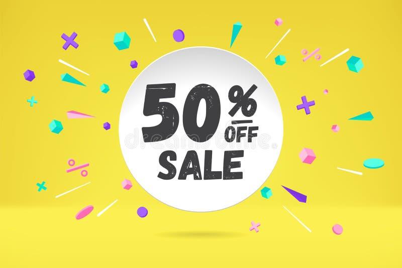 Nuvola della bolla del Libro Bianco con testo 50 FUORI dalla vendita di VENDITA, insegna di compera di promo, progettazione di sc royalty illustrazione gratis