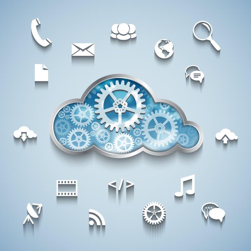 Nuvola della ruota di ingranaggio e progettazione piana della rete e di comunicazione royalty illustrazione gratis