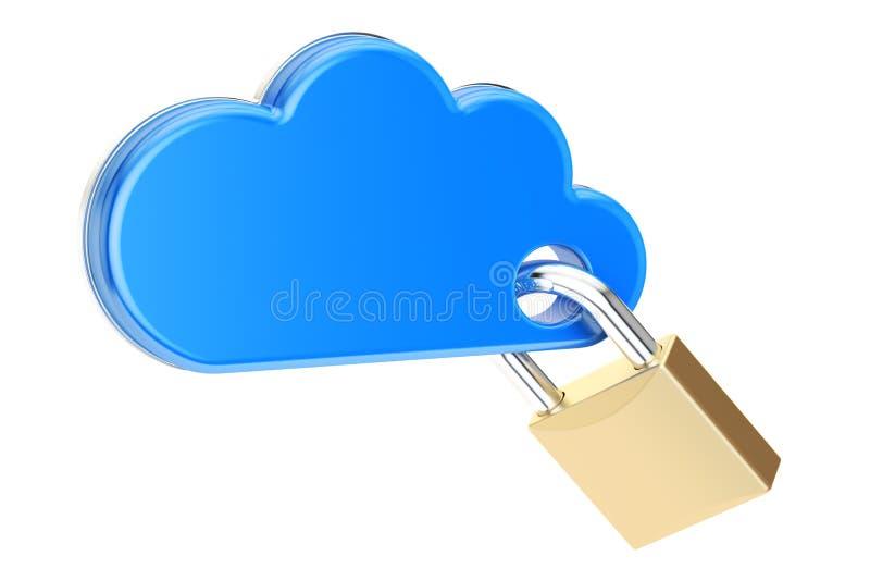 Nuvola di calcolo con il lucchetto Concetto di protezione e di sicurezza, 3 royalty illustrazione gratis