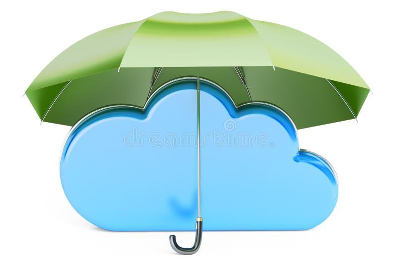 Nuvola di calcolo coperta dall'ombrello Raggiro di protezione e di sicurezza illustrazione vettoriale