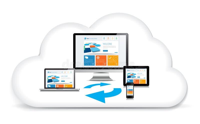 Nuvola di dati di Syncing di multimedia illustrazione di stock