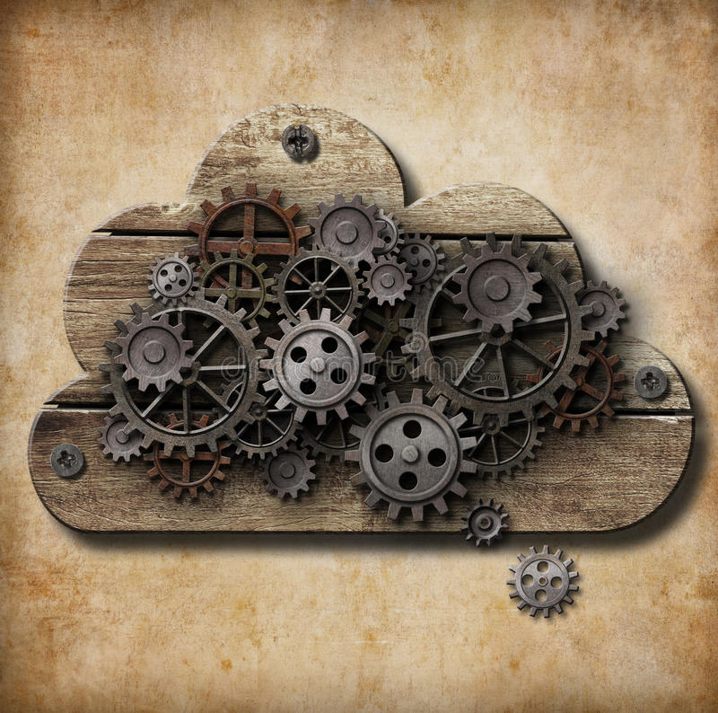 Nuvola di legno con gli ingranaggi arrugginiti sul fondo di lerciume royalty illustrazione gratis