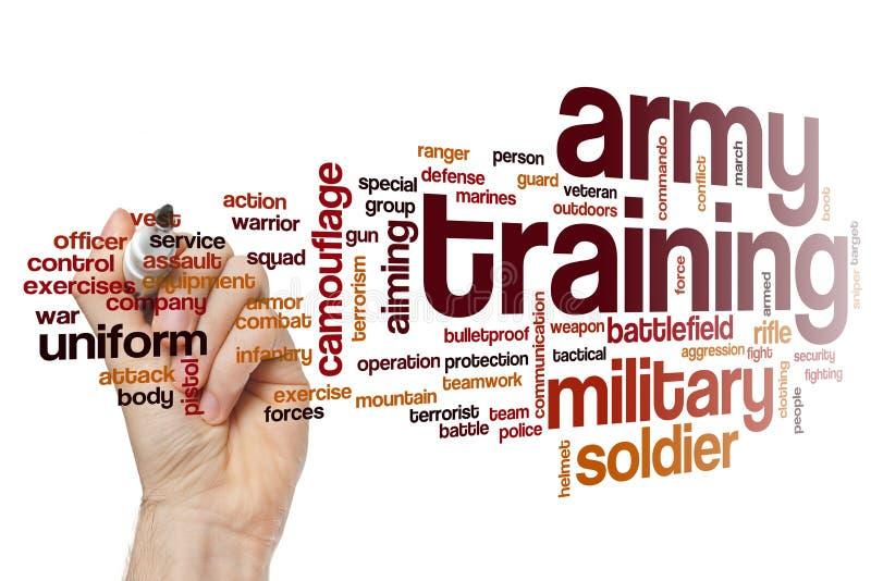 Nuvola di parola di addestramento dell'esercito fotografia stock libera da diritti