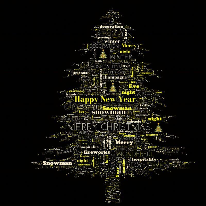 Nuvola di parola di Buon Natale nella forma dell'albero immagini stock libere da diritti