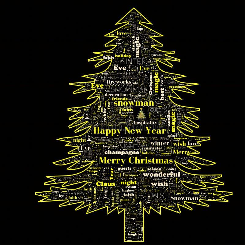 Nuvola di parola di Buon Natale nella forma dell'albero fotografia stock libera da diritti