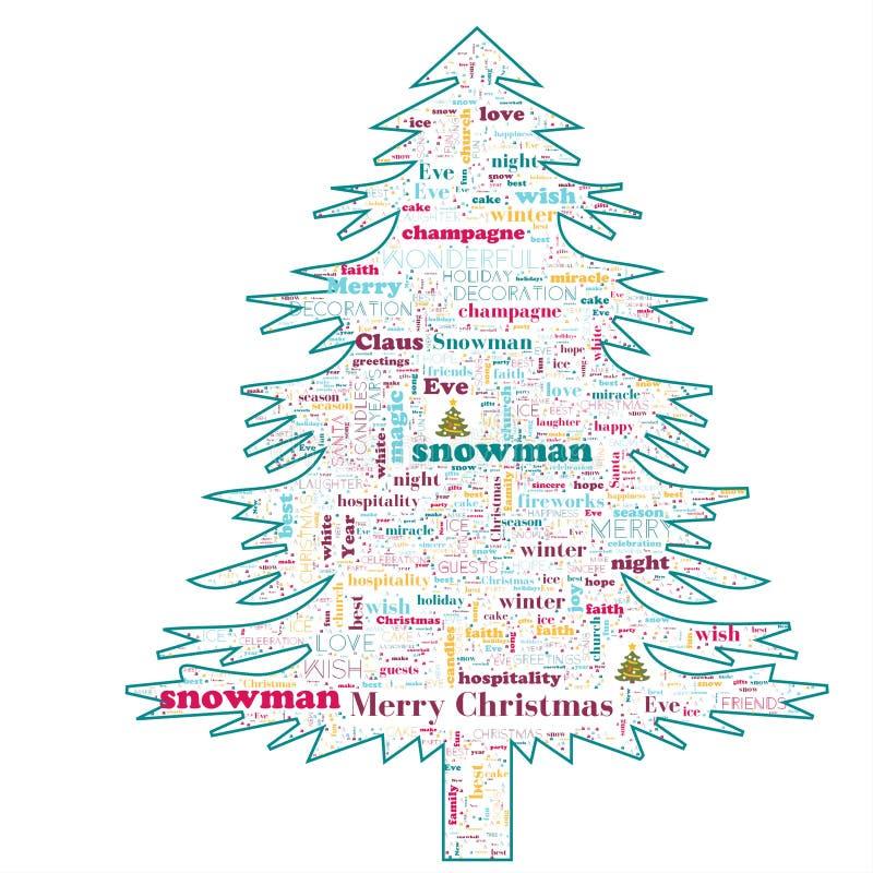 Nuvola di parola di Buon Natale nella forma dell'albero fotografie stock libere da diritti