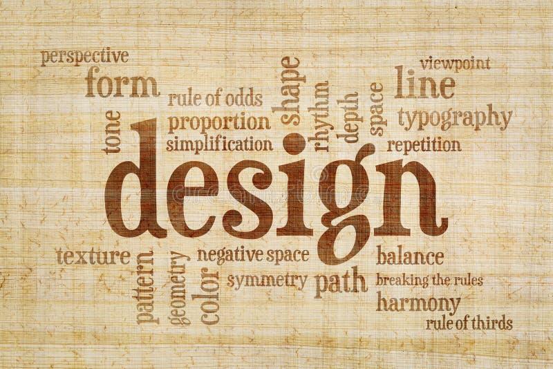 Nuvola di parola degli elementi e di regole di progettazione immagini stock libere da diritti