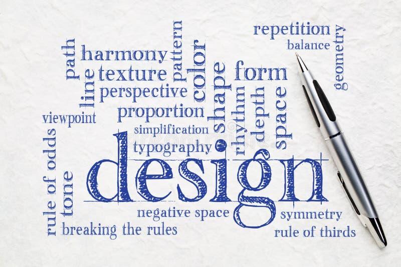 Nuvola di parola degli elementi e di regole di progettazione fotografie stock libere da diritti