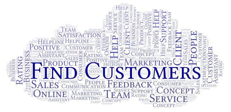 Nuvola di parola dei clienti del ritrovamento illustrazione vettoriale