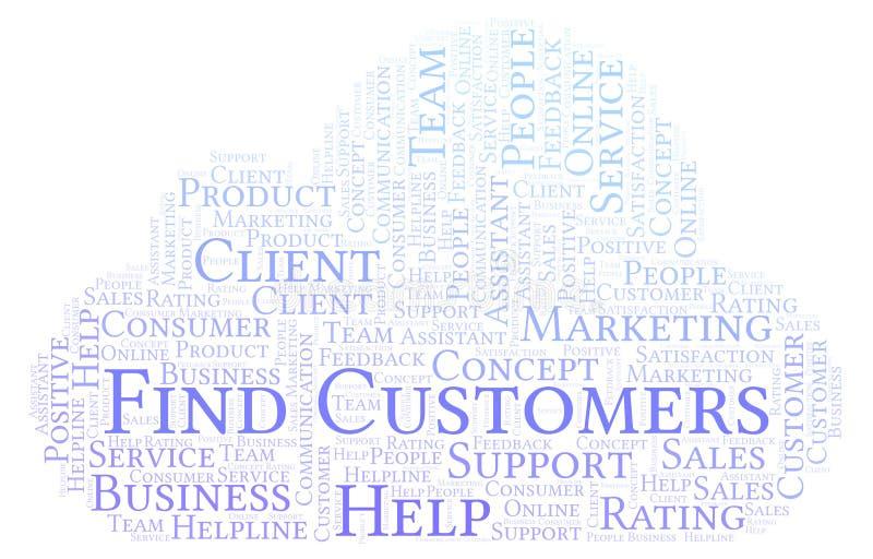 Nuvola di parola dei clienti del ritrovamento illustrazione di stock