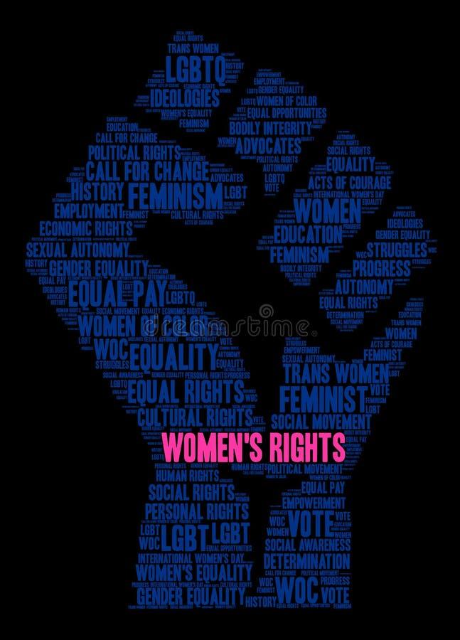 Nuvola di parola dei diritti delle donne illustrazione di stock