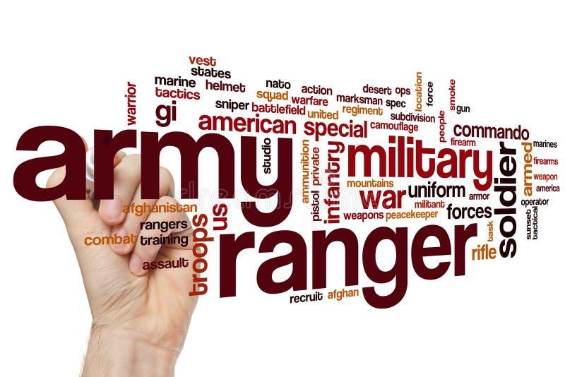 Nuvola di parola del guardia forestale dell'esercito fotografia stock libera da diritti