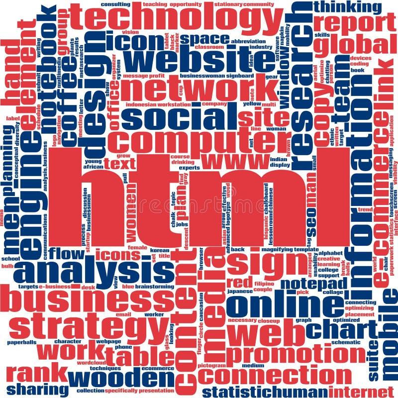 Nuvola di parola del HTML illustrazione vettoriale