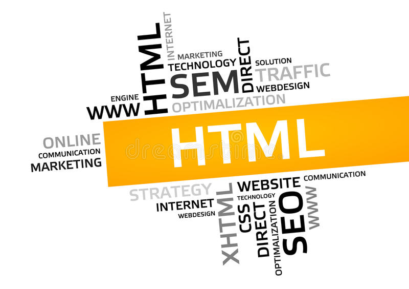 Nuvola di parola del HTML, nuvola dell'etichetta, grafico di vettore royalty illustrazione gratis