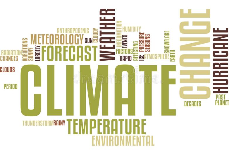 Nuvola di parola del mutamento climatico illustrazione vettoriale