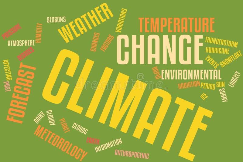 Nuvola di parola del mutamento climatico illustrazione di stock