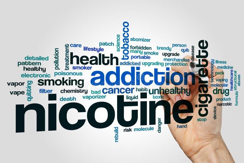Nuvola di parola del nicotina immagini stock