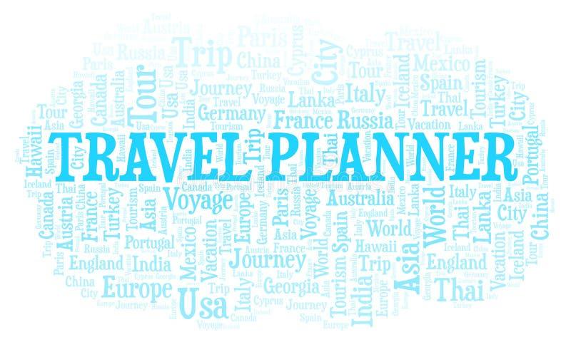 Nuvola di parola del pianificatore di viaggio royalty illustrazione gratis
