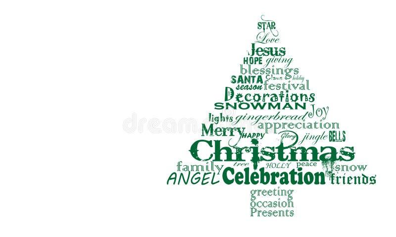 Nuvola di parola dell'albero di Natale, testo verde molto semplice fotografia stock libera da diritti