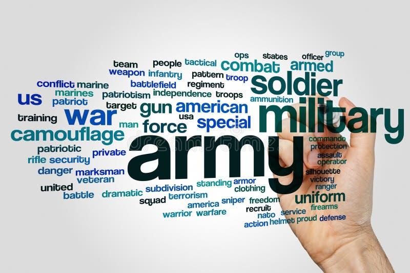 Nuvola di parola dell'esercito fotografie stock