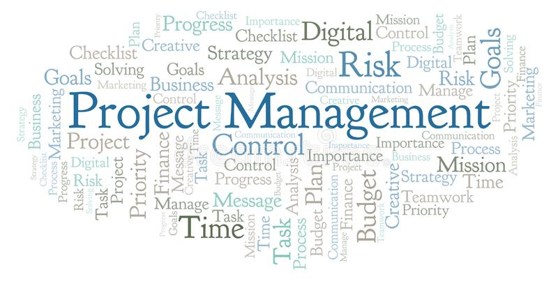 Nuvola di parola della gestione di progetti, fatta con testo soltanto illustrazione di stock