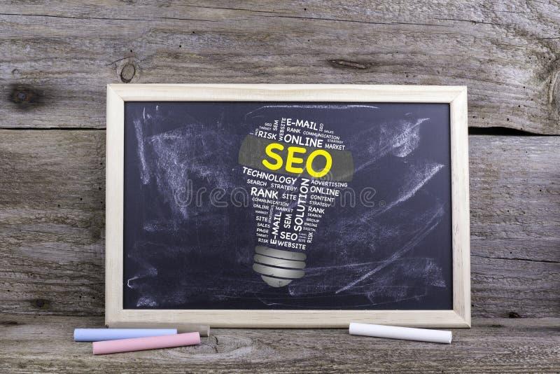 Nuvola di parola della lampadina di SEO (ottimizzazione del motore di ricerca) Bordo di gesso sopra immagini stock libere da diritti