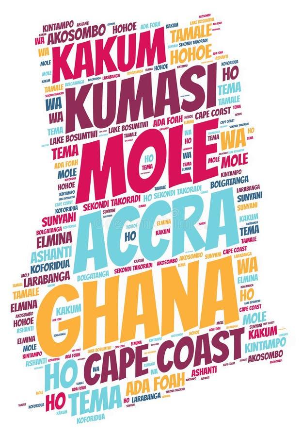 Nuvola di parola delle destinazioni di viaggio della cima del Ghana fotografia stock