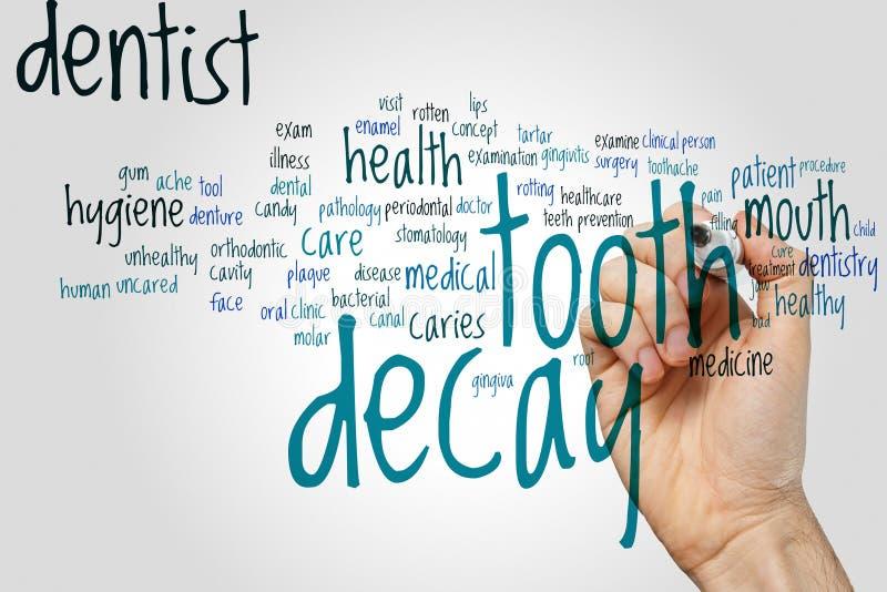 Nuvola di parola di carie dentaria fotografia stock