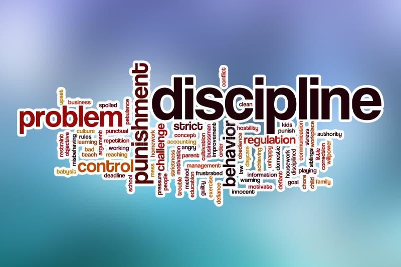 Nuvola di parola di disciplina con fondo astratto illustrazione di stock