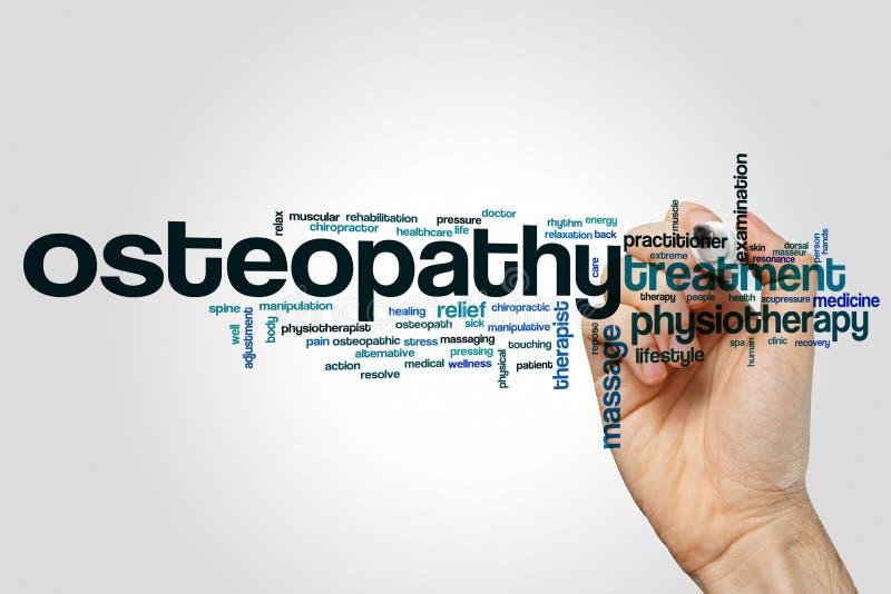 Nuvola di parola di osteopatia fotografie stock