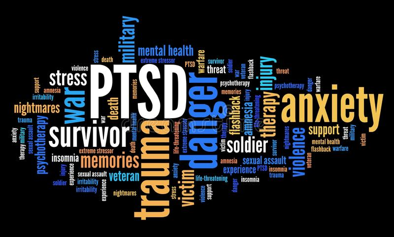 Nuvola di parola di PTSD royalty illustrazione gratis