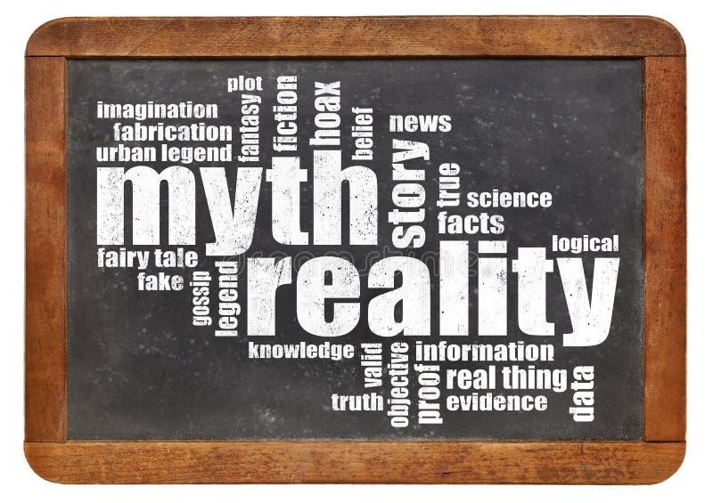 Nuvola di parola di realtà e di mito immagini stock libere da diritti