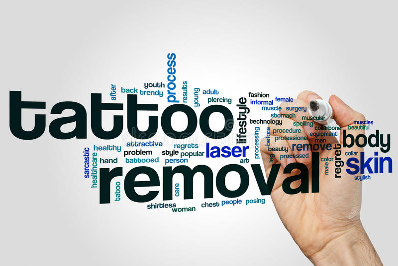 Nuvola di parola di rimozione del tatuaggio immagini stock