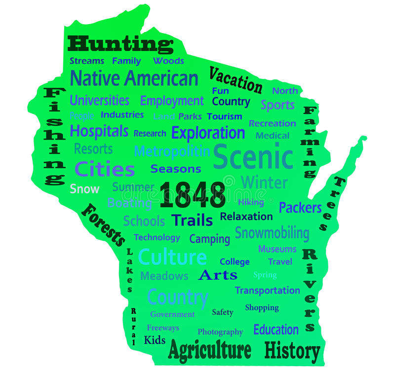 Nuvola di parola di Wisconsin fotografia stock libera da diritti