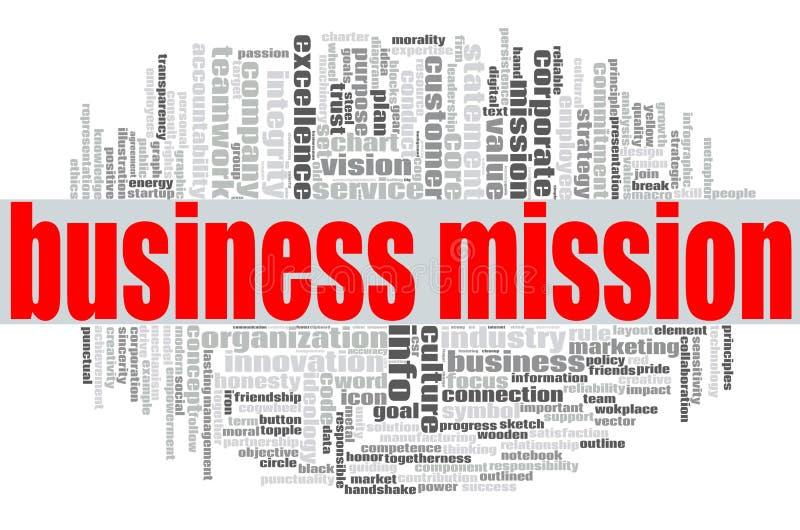 Nuvola di parola di missione di affari illustrazione di stock