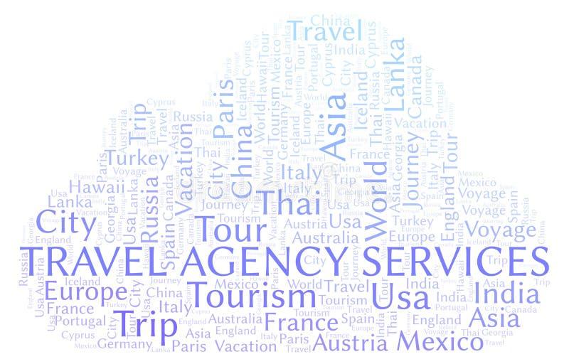 Nuvola di parola di servizi dell'agenzia di viaggi illustrazione di stock