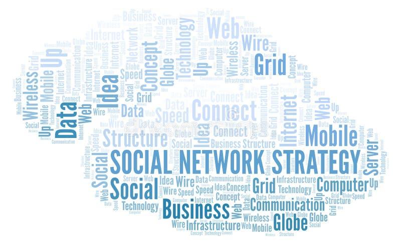 Nuvola di parola di strategia della rete sociale illustrazione vettoriale