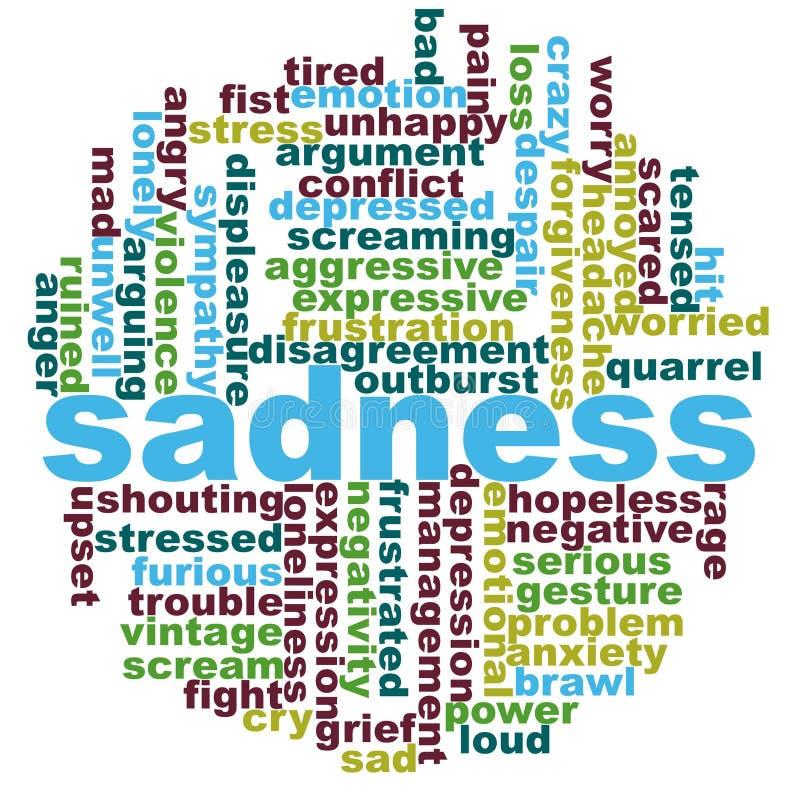 Nuvola di parola di tristezza illustrazione di stock