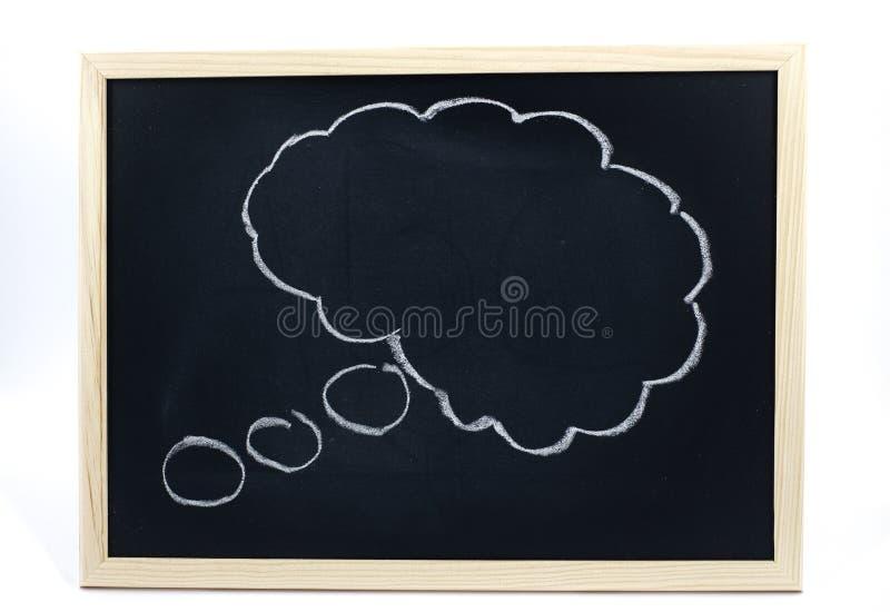Nuvola di pensiero attinta una lavagna con il pastello bianco immagine stock libera da diritti