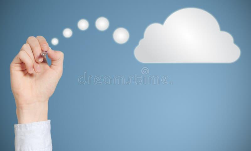 Nuvola di pensiero o computazione del disegno a penna della mano dell'uomo d'affari fotografia stock libera da diritti