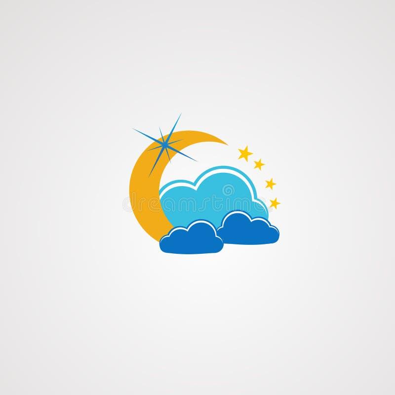 Nuvola di sogno con pochi vettore, icona, elemento e modello di logo della stella per la società illustrazione vettoriale
