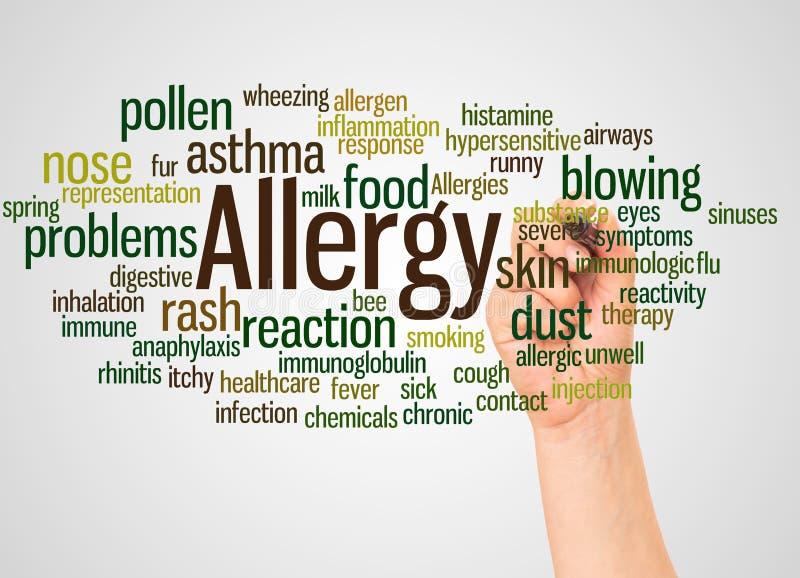 Nuvola e mano di parola di allergia con il concetto dell'indicatore immagine stock libera da diritti