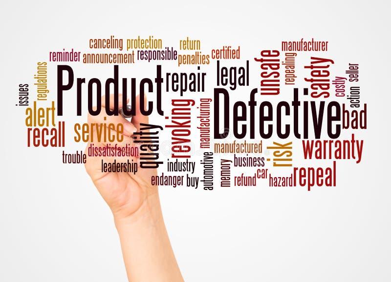 Nuvola e mano di parola del prodotto difettoso con il concetto dell'indicatore fotografia stock