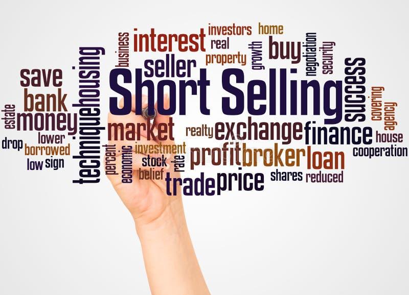 Nuvola e mano di parola di vendita di scarsità con il concetto dell'indicatore immagini stock