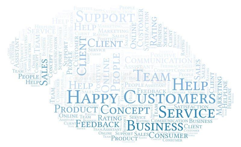 Nuvola felice di parola dei clienti illustrazione di stock