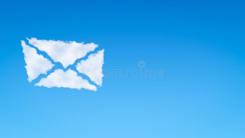 Nuvola a forma di di simbolo della busta illustrazione di stock